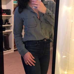 Soft Chambray Button Down Top Comfy Casual Career
